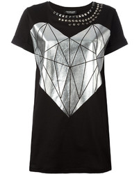 Camiseta con cuello circular estampada negra de Twin-Set