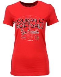 Camiseta con Cuello Circular Estampada Roja