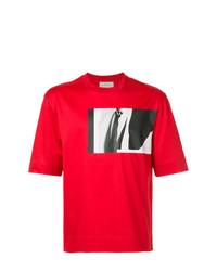 Camiseta con cuello circular estampada roja de Cerruti 1881
