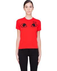 Camiseta con cuello circular estampada roja de Comme des Garcons