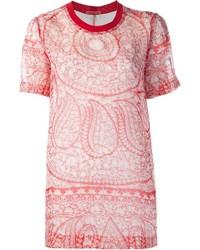 Camiseta con cuello circular estampada roja de Giambattista Valli