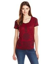 Camiseta con Cuello Circular Estampada Roja de Lucky Brand
