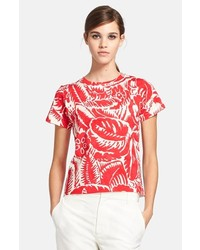 Camiseta con cuello circular estampada roja de Marc Jacobs