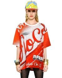 Camiseta con cuello circular estampada roja de Moschino