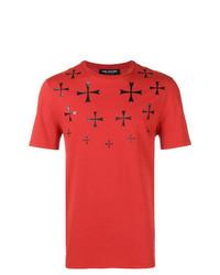 Camiseta con cuello circular estampada roja de Neil Barrett