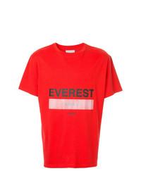 Camiseta con cuello circular estampada roja de Yoshiokubo