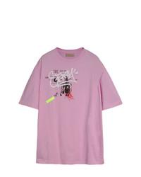 Camiseta con cuello circular estampada rosada de Burberry