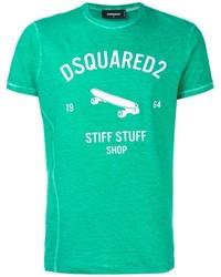 Camiseta con cuello circular estampada verde