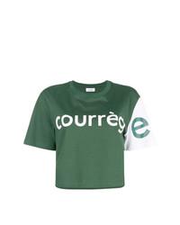 Camiseta con cuello circular estampada verde oscuro de Courreges