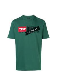 Camiseta con cuello circular estampada verde de Diesel