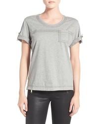 Camiseta con cuello circular gris de Burberry