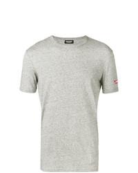 Camiseta con cuello circular gris de DSQUARED2