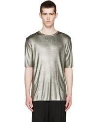 Camiseta con cuello circular gris de Fendi