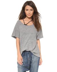 Camiseta con cuello circular gris de R 13