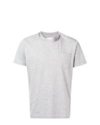 Camiseta con cuello circular gris de Sacai