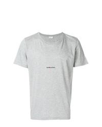 Camiseta con cuello circular gris de Saint Laurent