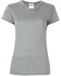 Camiseta con cuello circular gris de Valentino
