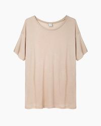 Camiseta con cuello circular marrón claro