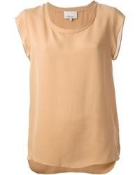 Camiseta con cuello circular marrón claro de 3.1 Phillip Lim