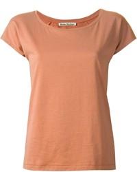 Camiseta con cuello circular marrón claro de Acne Studios