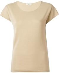 Camiseta con cuello circular marrón claro de Etro