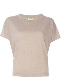 Camiseta con cuello circular marrón claro de Kenzo