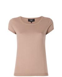 Camiseta con cuello circular marrón claro de Paule Ka