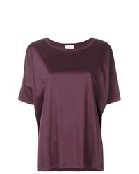 Camiseta con cuello circular morado oscuro de Lemaire
