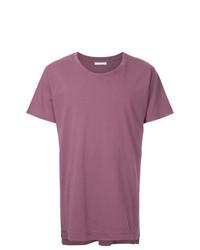 Camiseta con cuello circular morado de John Elliott