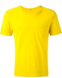 Camiseta con cuello circular mostaza de Massimo Alba