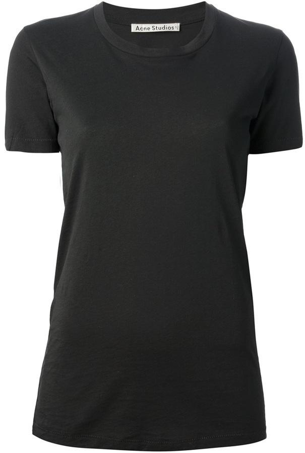 Camiseta con cuello circular negra de Acne Studios