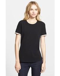 Camiseta con cuello circular negra de Burberry