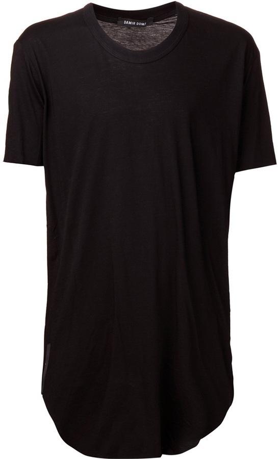 Camiseta con cuello circular negra de Damir Doma