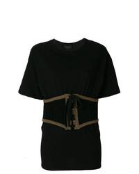 Camiseta con cuello circular negra de Kendall & Kylie