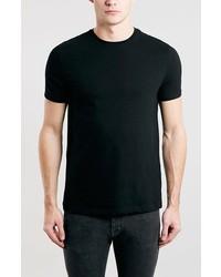 Camiseta con cuello circular negra de Topman