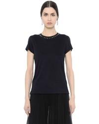 Camiseta con cuello circular negra de Valentino