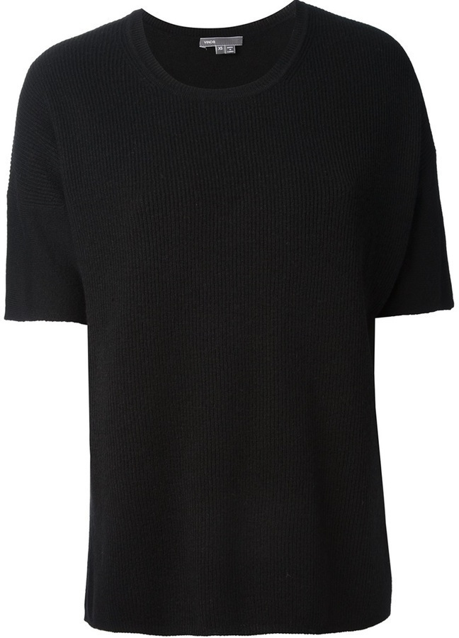 Camiseta con cuello circular negra de Vince