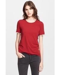 Camiseta con cuello circular roja de Burberry