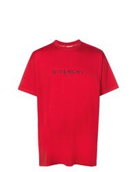 Camiseta con cuello circular roja de Givenchy