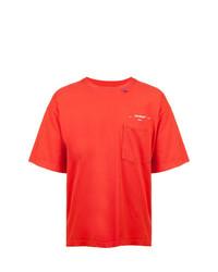 Camiseta con cuello circular roja de Off-White