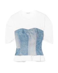 Camiseta con cuello circular vaquera celeste