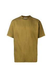 Camiseta con cuello circular verde oliva de Acne Studios