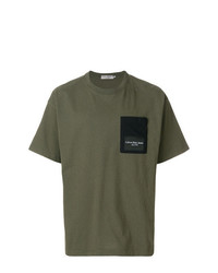 Camiseta con cuello circular verde oliva de Calvin Klein Jeans
