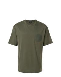 Camiseta con cuello circular verde oliva de Emporio Armani