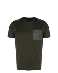 Camiseta con cuello circular verde oliva de Prada