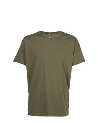 Camiseta con cuello circular verde oliva de R13
