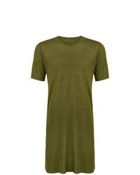 Camiseta con cuello circular verde oliva de Rick Owens