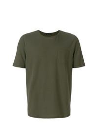 Camiseta con cuello circular verde oliva de Roberto Collina