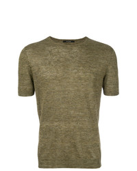 Camiseta con cuello circular verde oliva de Tagliatore