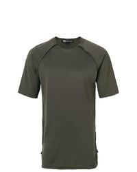 Camiseta con cuello circular verde oliva de Y-3